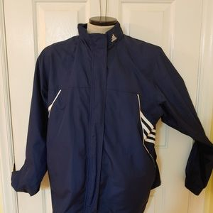 Adidas Windbreaker size L Navy White Stripes